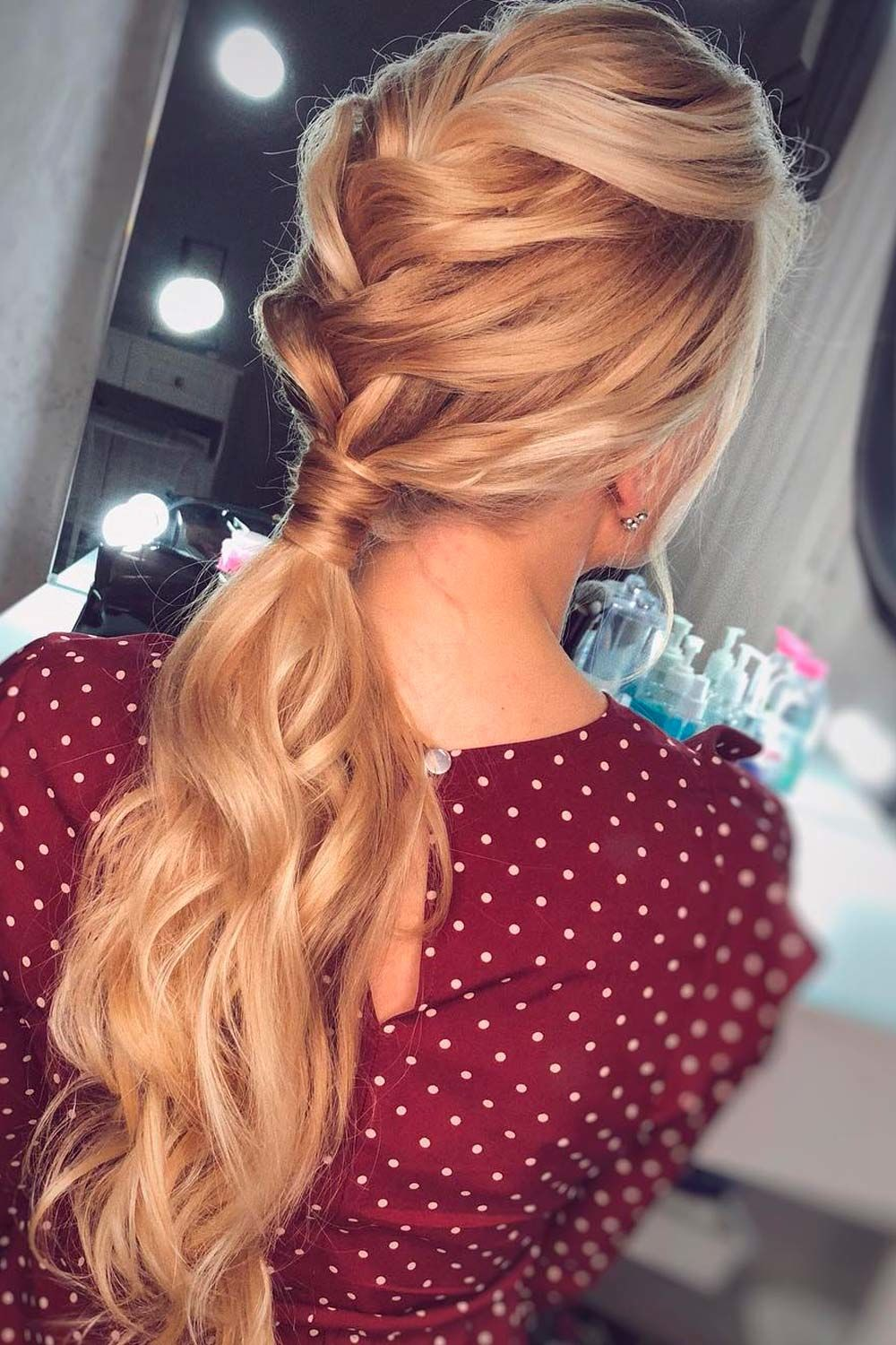 Messy French Braid Into Low Ponytail