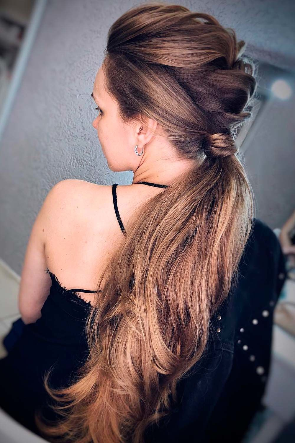 Bubble Braid Into Low Ponytail