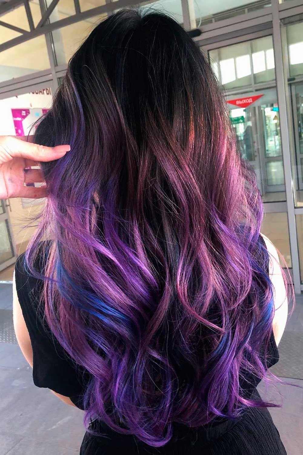 Beauty Long Purple And Black Hair
