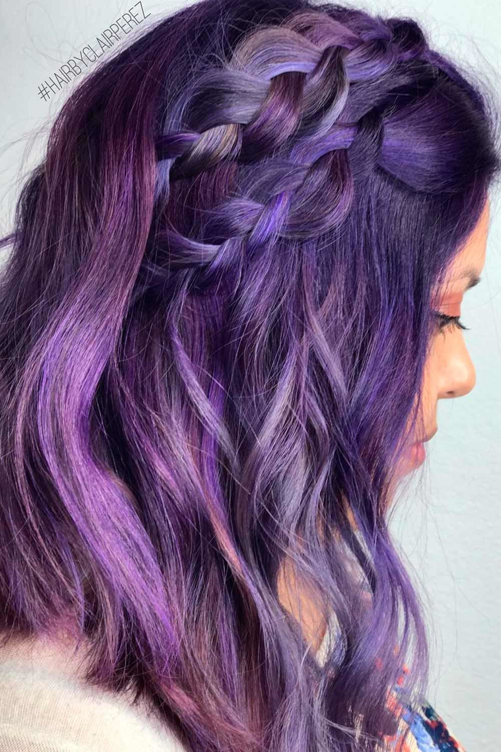 Purple And Blue Highlights For Black Hair