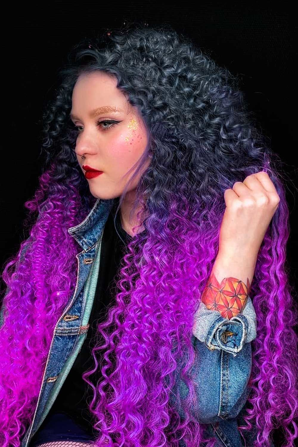 Long Curly Purple And Black Hair