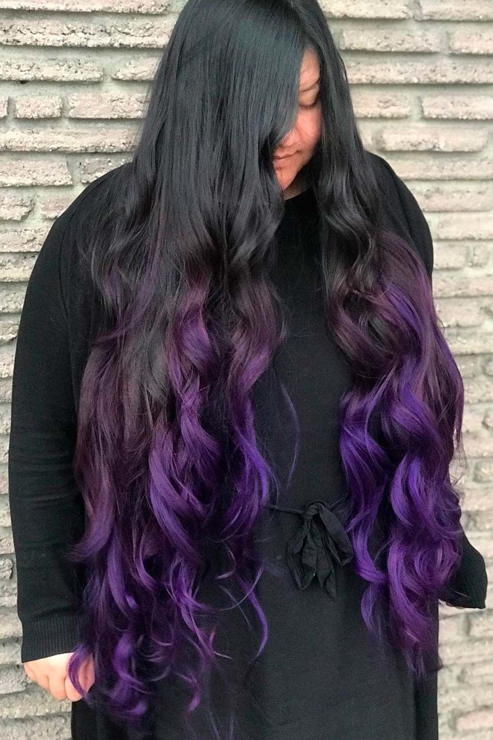 Cool Black To Purple Long Hair Ombre