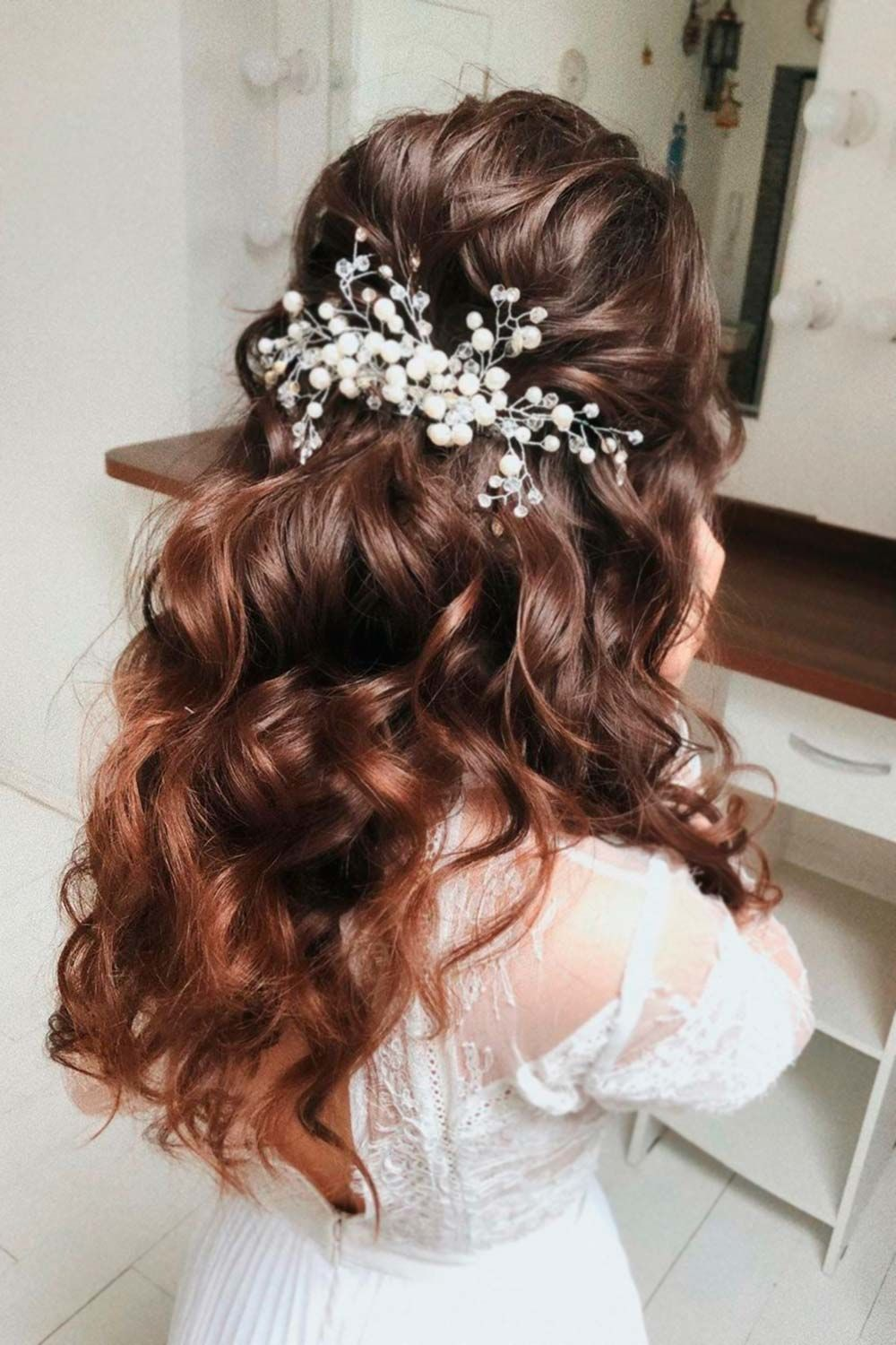 Swept Back Wedding Hairstyles With Long Curls