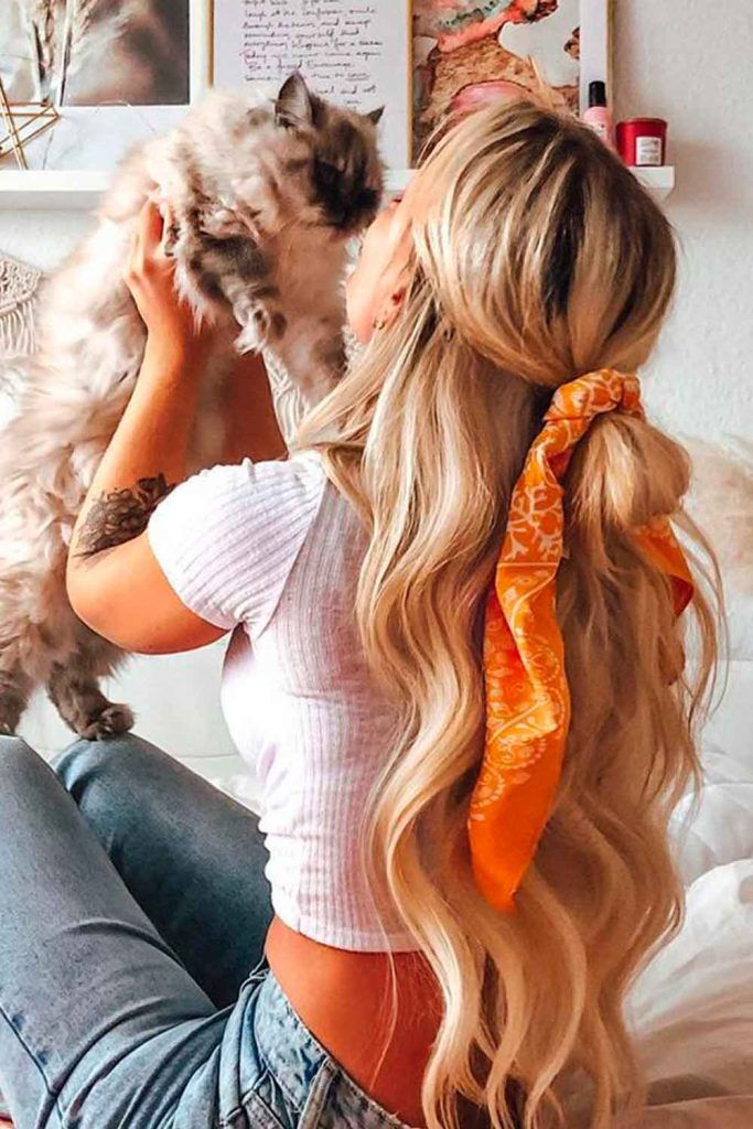 Half-Up Knot With A Headband, very long hairstyles for women with diamond face shapes, androgynous hairstyles for heart diamond face shapes, haircut for diamond shaped face