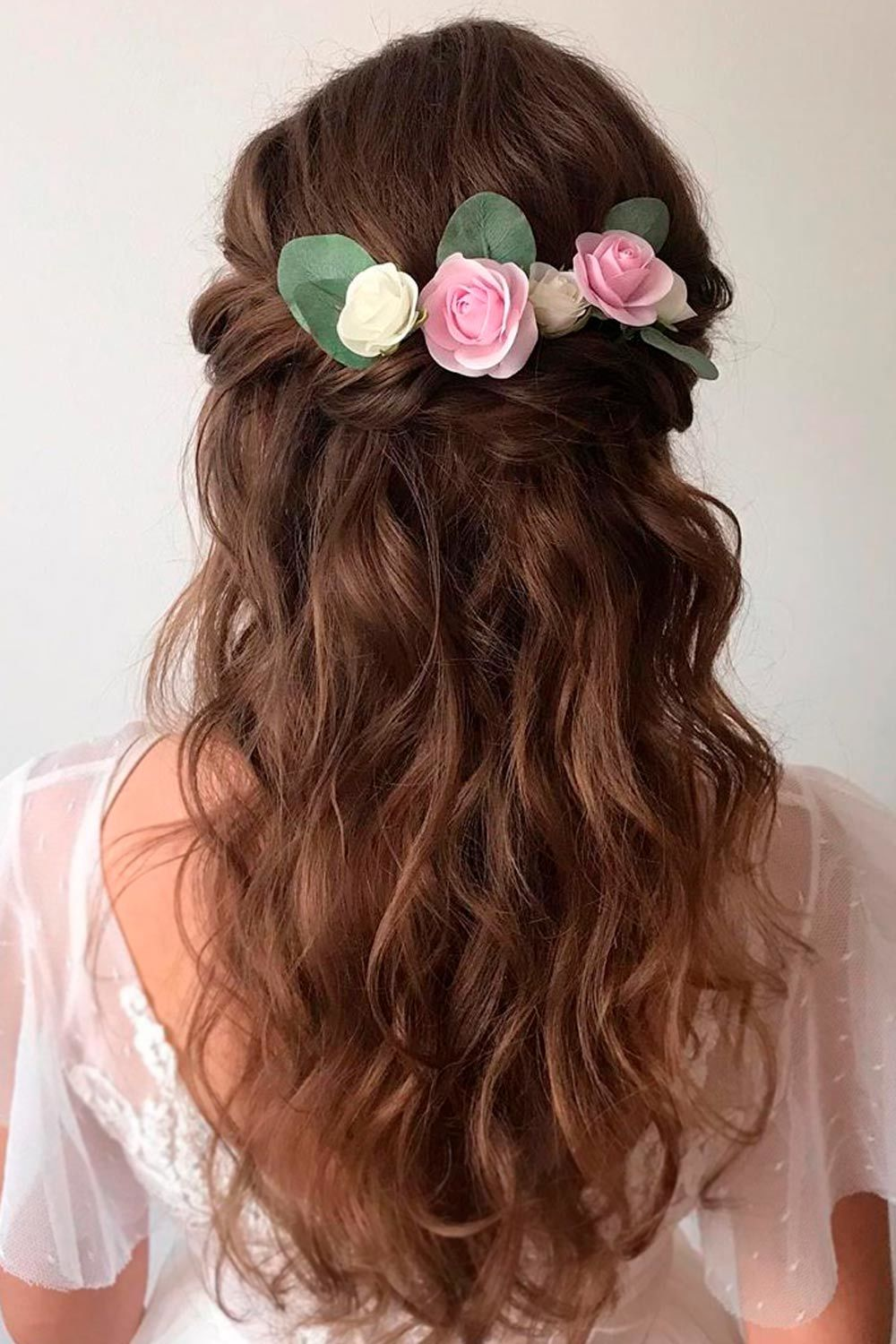 Flower Accessorized Half Up Hairstyles For Long Hair