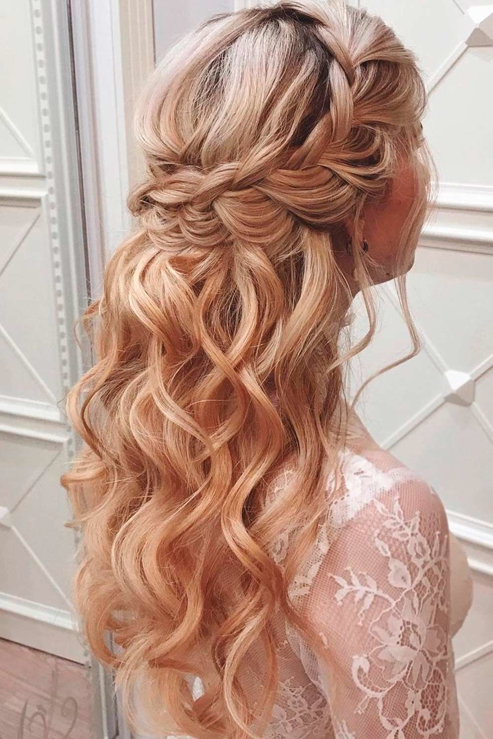 Braided Half Up Updo For Wavy Hair