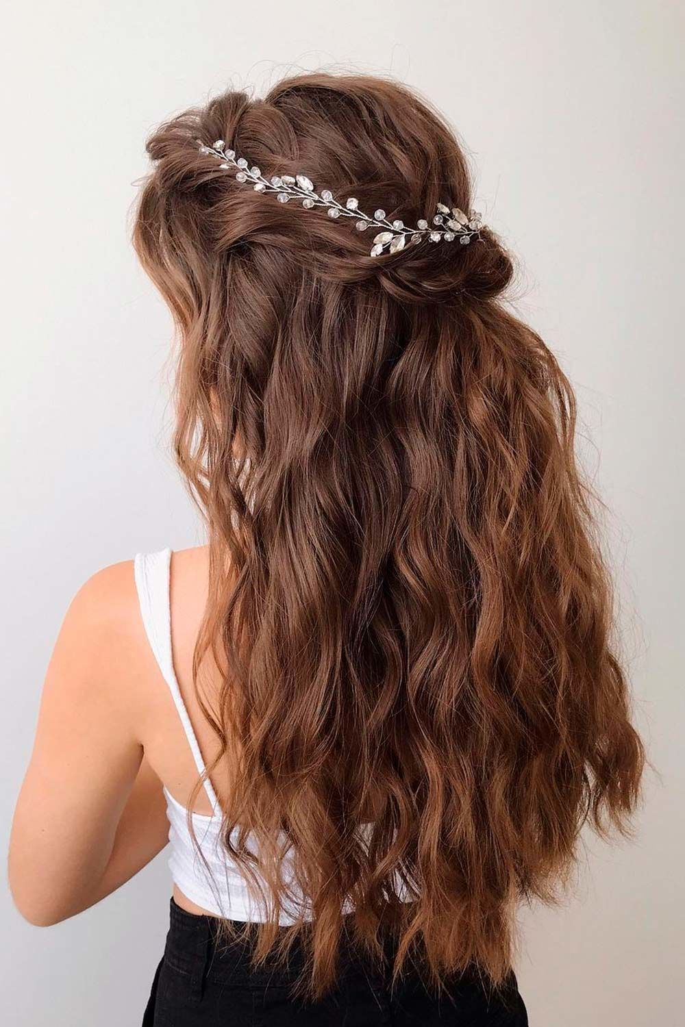 Half-Up Style For Wavy Hair