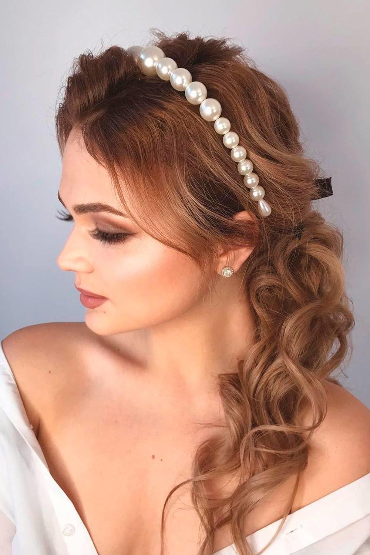 Half-Up Pearl Headbands Ideas