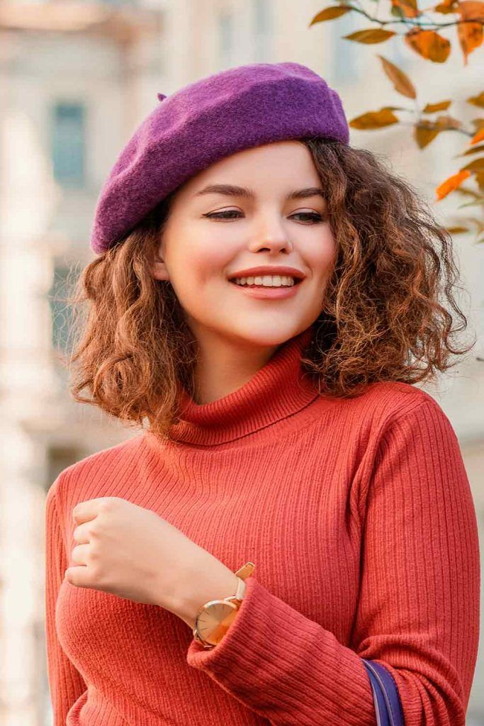Purple Beret, beret hairstyles, how to wear a beret with short hair, beret curly hair