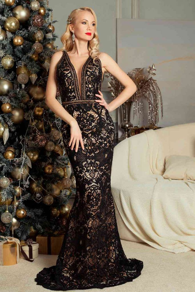 V-Neck Dress With Low Sleek Pony half up party hairstyles, hairstyles for mermaid dresses, hairstyles for dresses