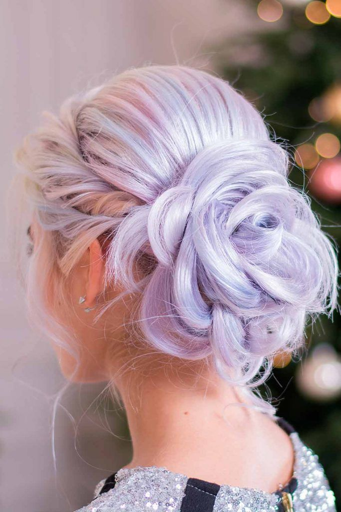 High-Necked Dress With Voluminous High Bun cute party hairstyles, hairstyles for formal dresses, hairstyles for dresses