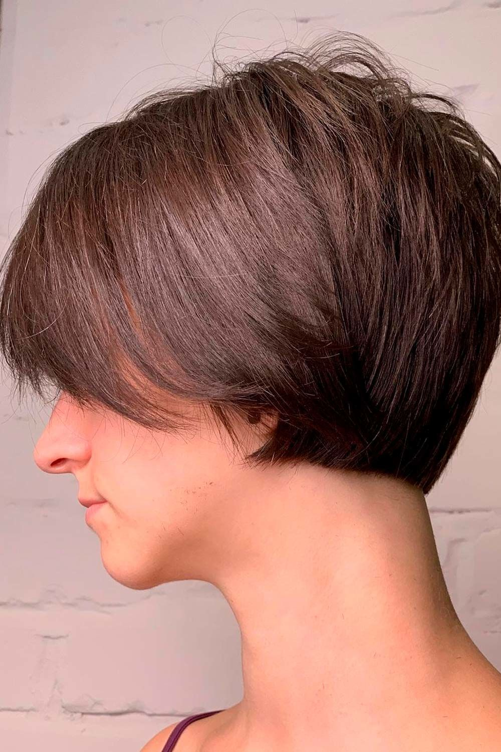 Textured Brown Side-Parted Bob