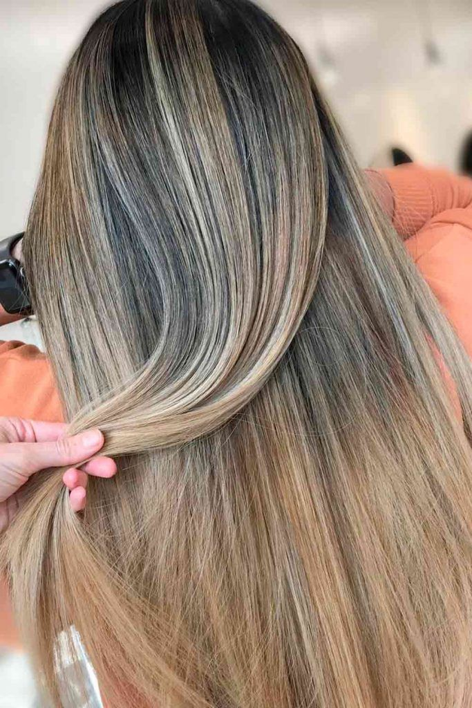 Straight Hair With Blonde Ombre straight long hair, straight blonde hair, straight balayage hair