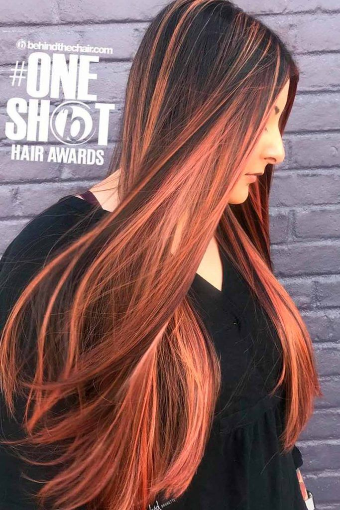 Copper Tones For Long Straight Hair straight long hair, long straight black hair, straight balayage hair
