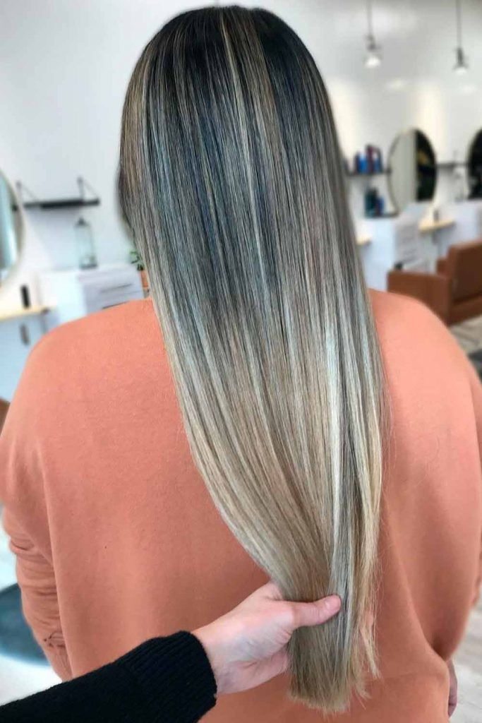 Icy Blonde Balayage With Deep Grey Roots For Long Hair straight long hair, straight balayage hair, straight blonde hair