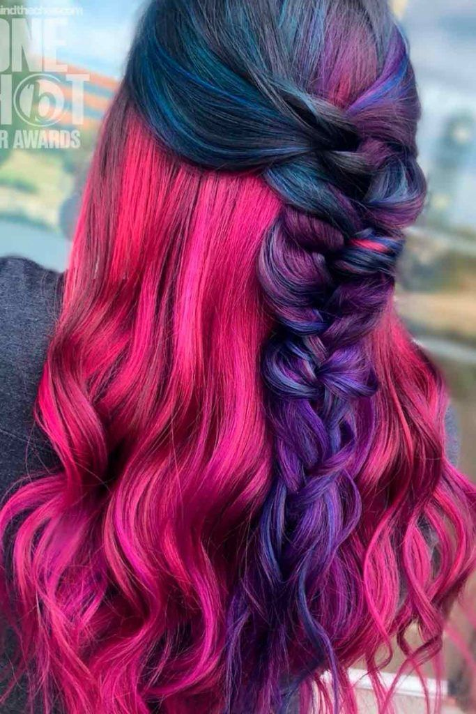 Red Purple Ideas For Your Hair, red and purple hair, purple and red hair, red and purple hair dye mixed