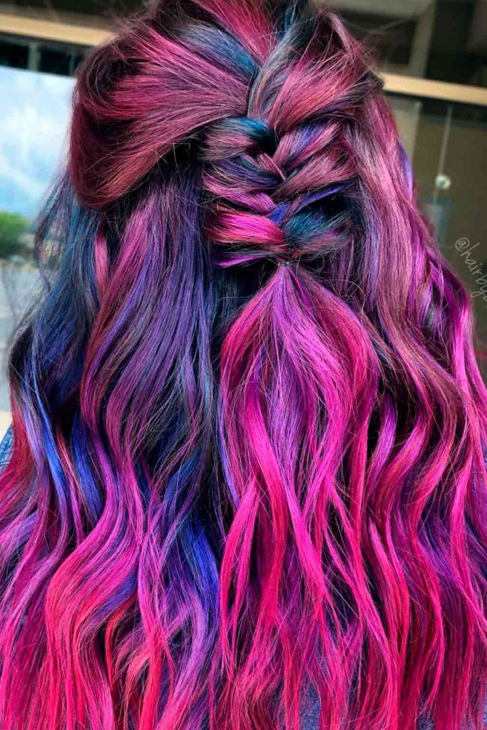 Inspirational Red And Purple Hair, red hair with purple streaks, red hair with purple, purple dye over red hair, red hair purple highlights