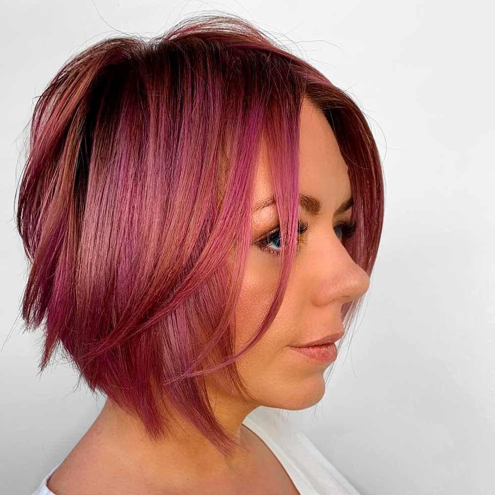 Red Purple Bob Haircut, red/purple hair, red hair purple tips, red purple ombre hair