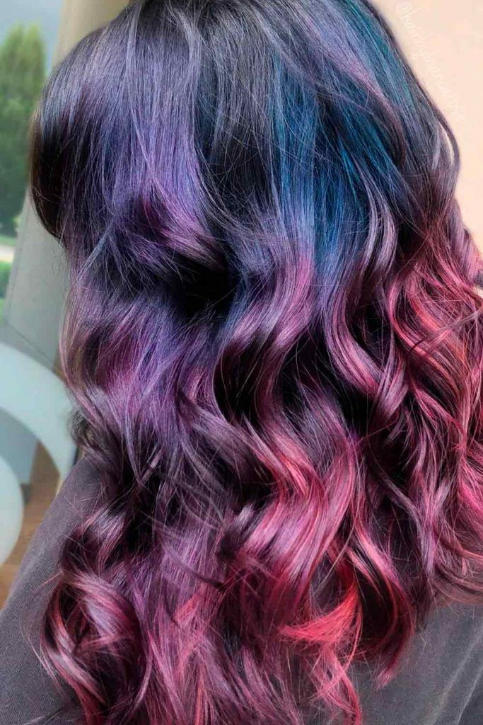 Long Plum Red Purple Hair, red and violet hair, purple to red hair, red/purple hair, red and purple hair color