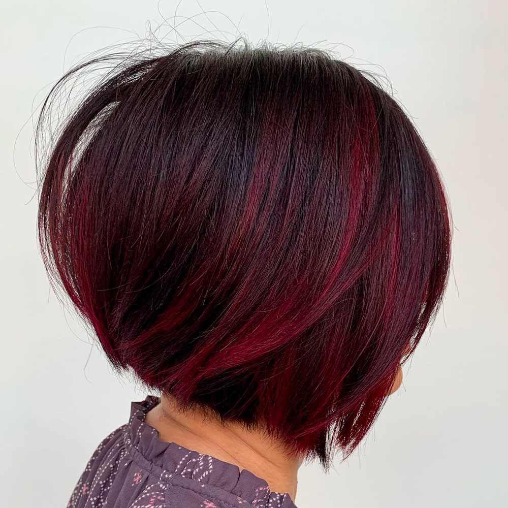 Red Purple Bob Haircut, dark red violet hair, violet red hair color, red purple hair