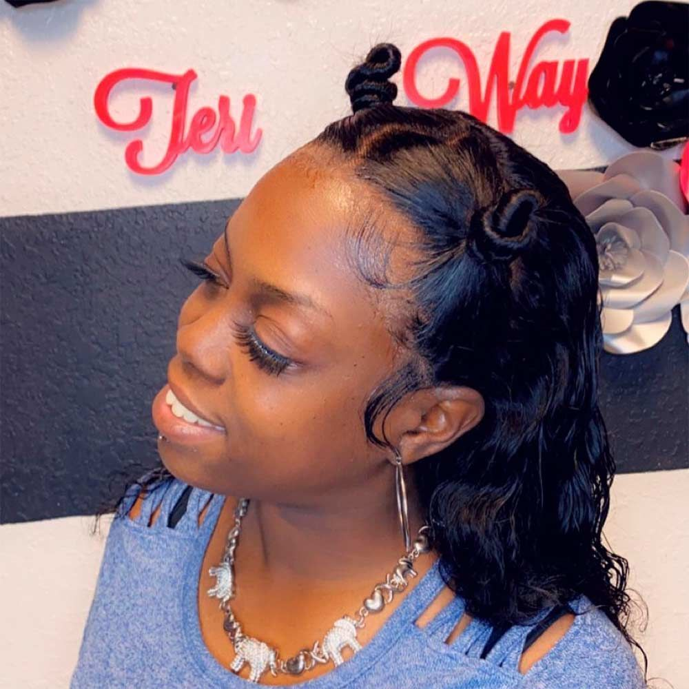 Half Upstyle With Bantu Knots, knots hair style, hair knots, hair knot