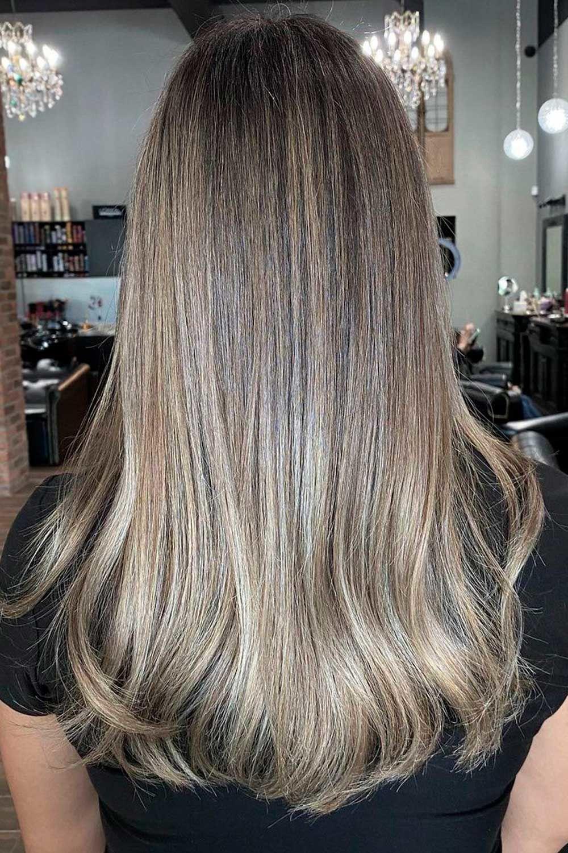 Ash Balayage Hair Color, blonde and black hair, brown and blonde highlights on black hair, black and platinum blonde hair, black brown and blonde hair