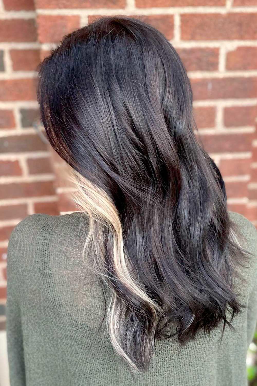 Face Framing Blonde Highlights on Black Hair, black hair with blonde highlights, Long black ombre hair