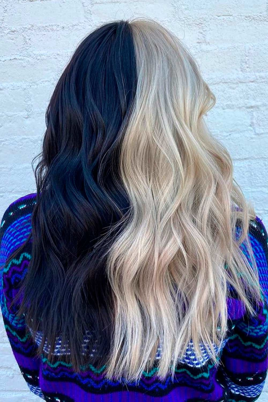 Black & Blonde Half and Half Hair, blonde and black hair