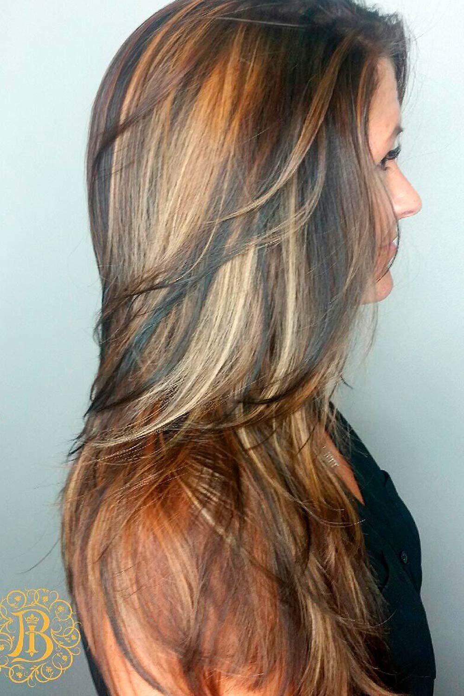 Black Hair and Warm Blonde Highlights, black and honey blonde hair, brown and blonde highlights on black hair