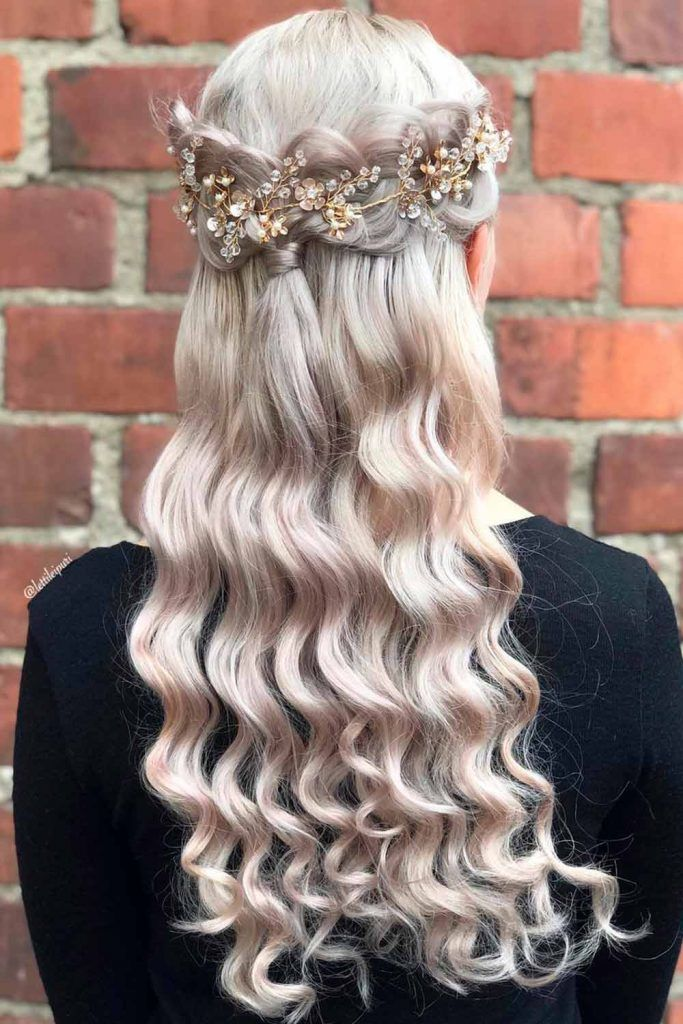 Crown Braided Hairstyles For Long Hair To Look Like A Queen, braided hairstyles for long curly hair, long hair braids, braided wedding hairstyles for long hair