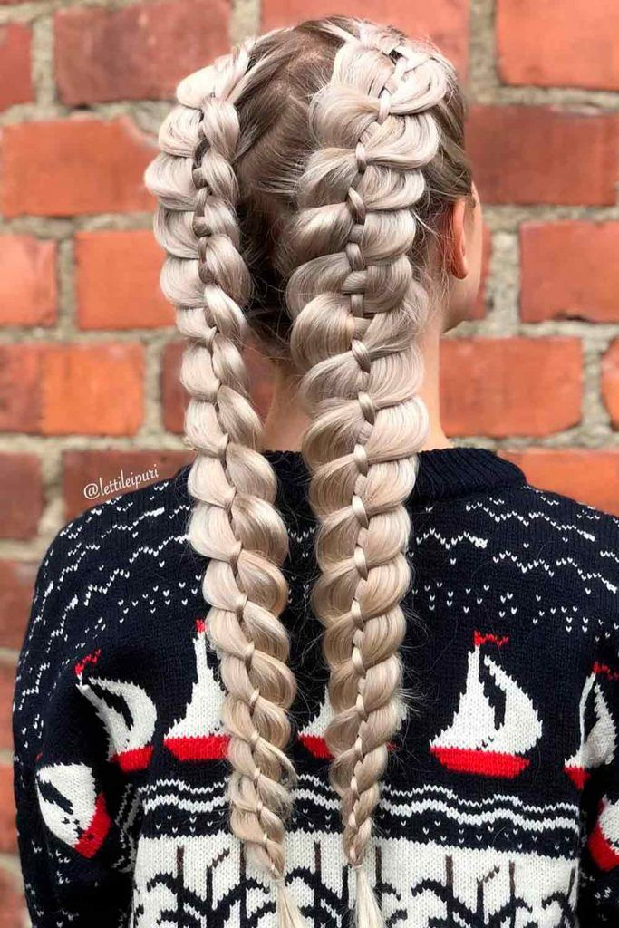Double Braided Hairstyles For Long Hair, hairstyle for long braids, two long braids, braids for long hair, long thick braids