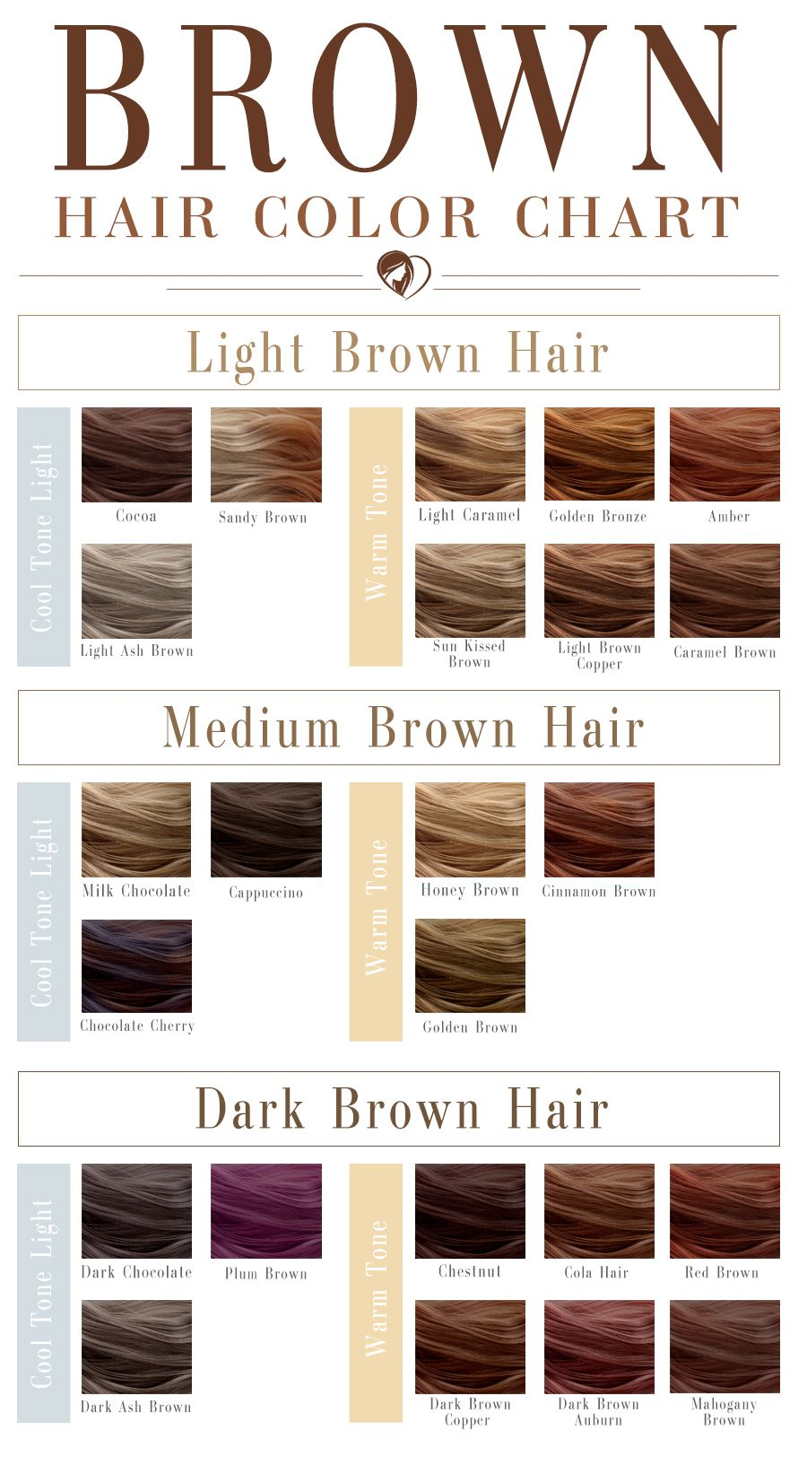 40 Shades Of Brown Hair Color Chart To Suit Any Complexion
