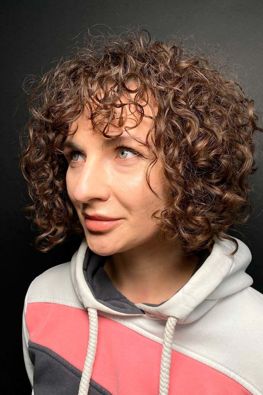 Curly Hair Bangs Trend, curly bob bangs, curly lob with bangs, bangs on curly hair