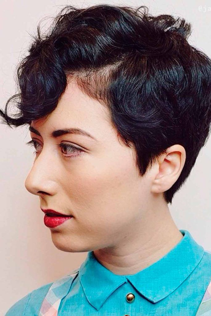 Sassy Curly Pixie Cut With Sweeping Bangs, curly asymmetrical pixie, how to style a curly pixie cut, pixie cut curly
