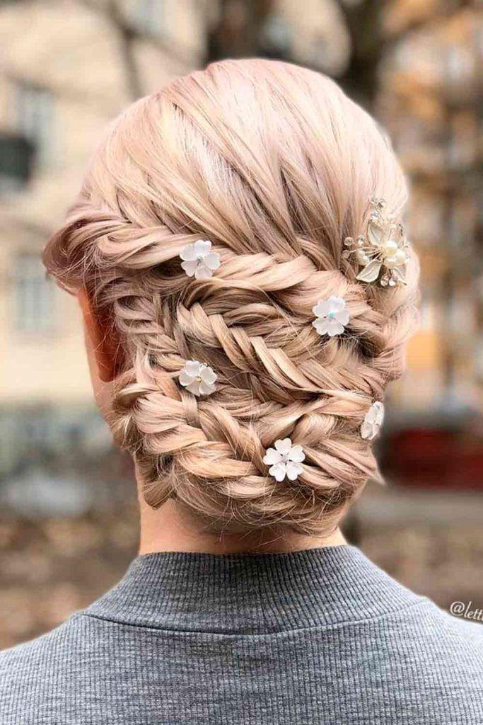 Braided Bun With Double Fishbone, fishbone braid updo, fishbone braid styles, fishbone goddess braids
