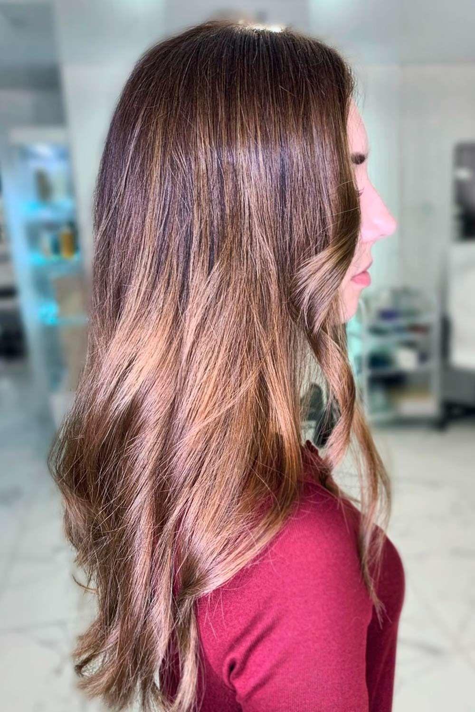 Honey Glazed Doughnut, brunette hair with highlights, chocolate brown hair with highlights, brunette with red highlights