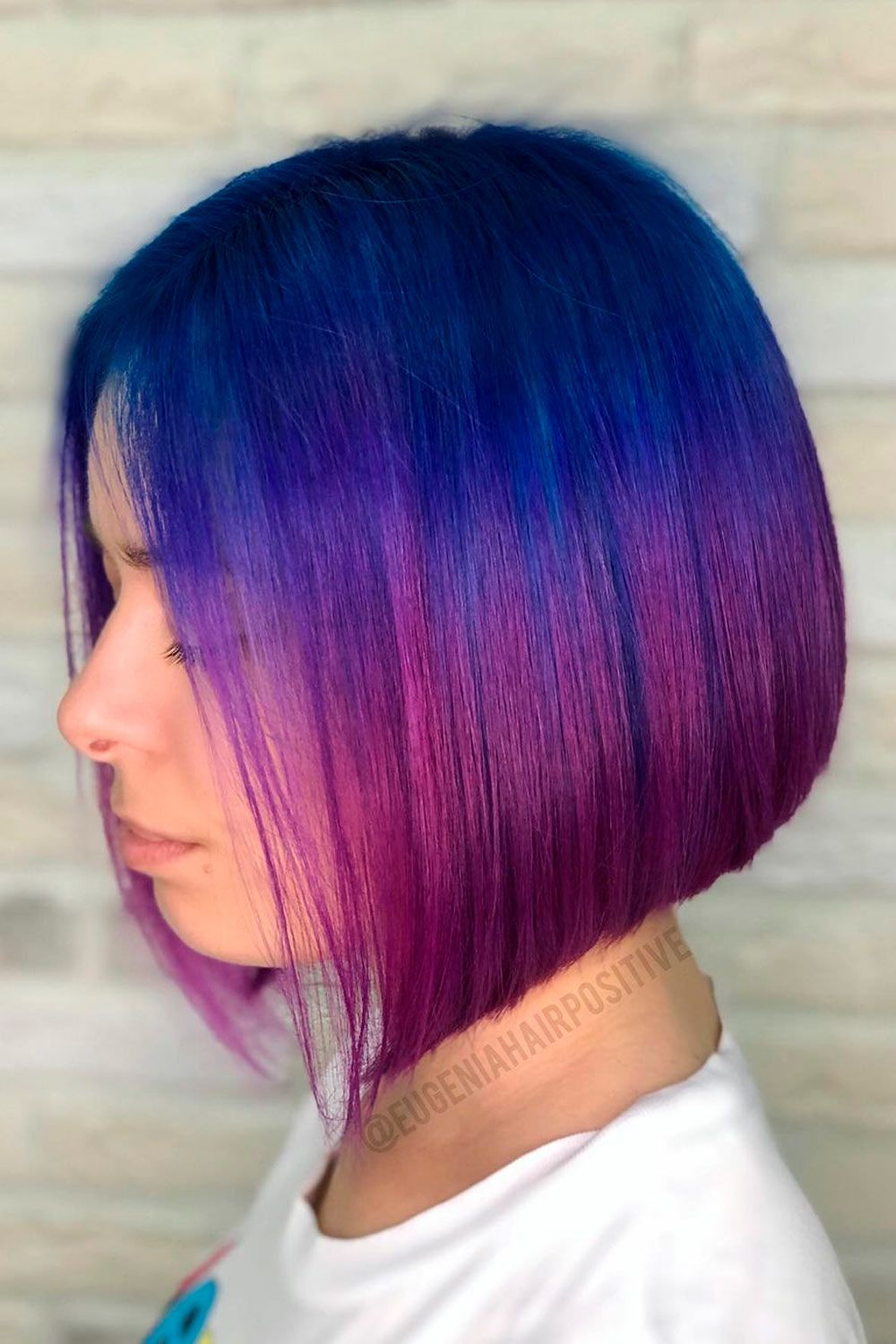 Deep Blue To Purple Fade, short ombre hair with bangs, short ombre blonde hair, very short ombre hair