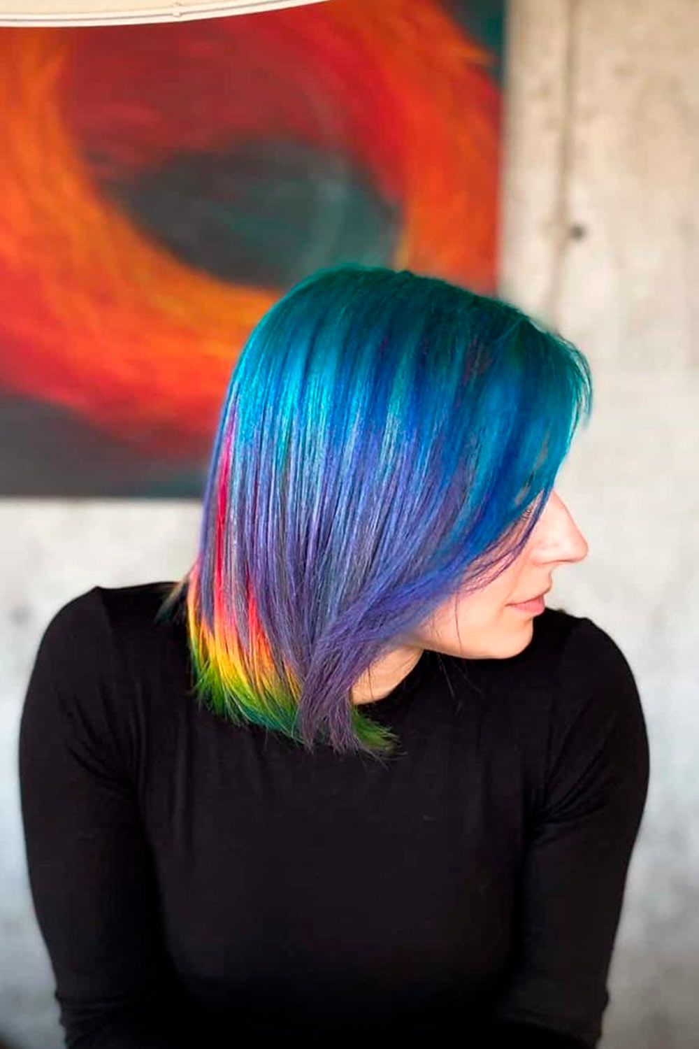 Ravishing Rainbow , ombre hair short, short hair ombre color, ombre straight short hair