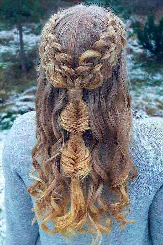 Try These Braids and Look Like a Princess, hairstyles for dinner party, half up party hairstyles, long hairstyles for party