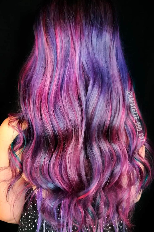 Pink Purple Balayage With Blue Contrast Lowlights