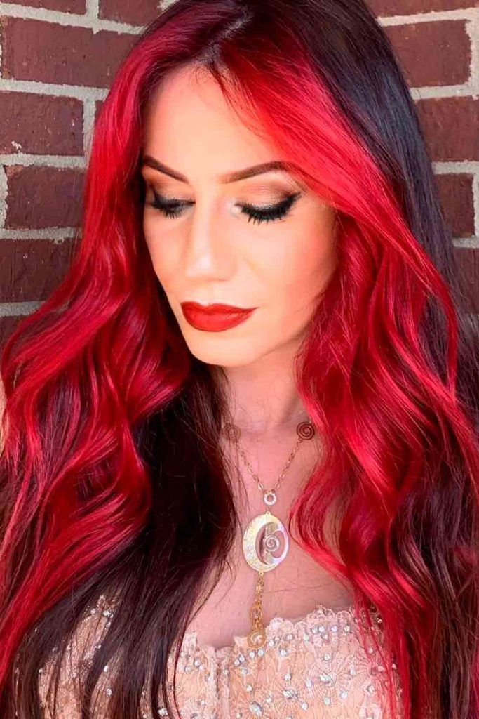 Ombre Hair Look With Brilliant Bursts of Red, brunette to red ombre, dark red ombre hair, red black ombre hair