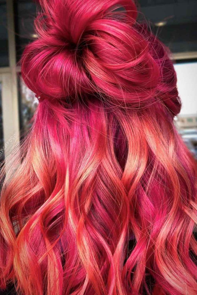 Bright Peach Red, red hair ombre, red hair with ombre, dark red ombre hair