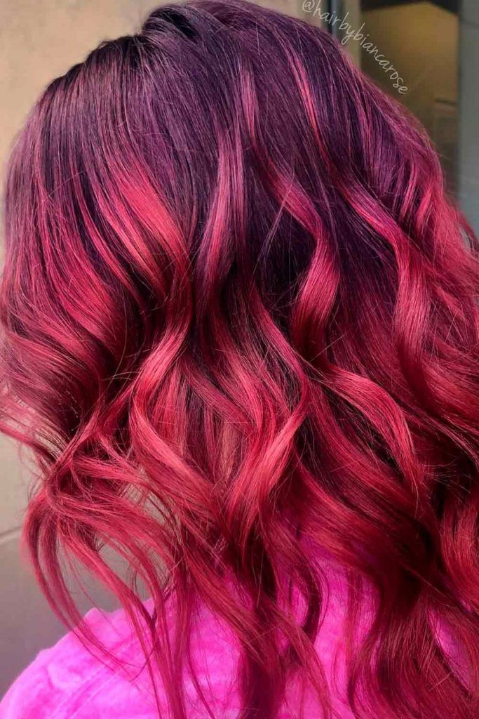 Brunette and Red Ombre, red black ombre hair, red to black ombre, brunette to red ombre, black and red hair ombre