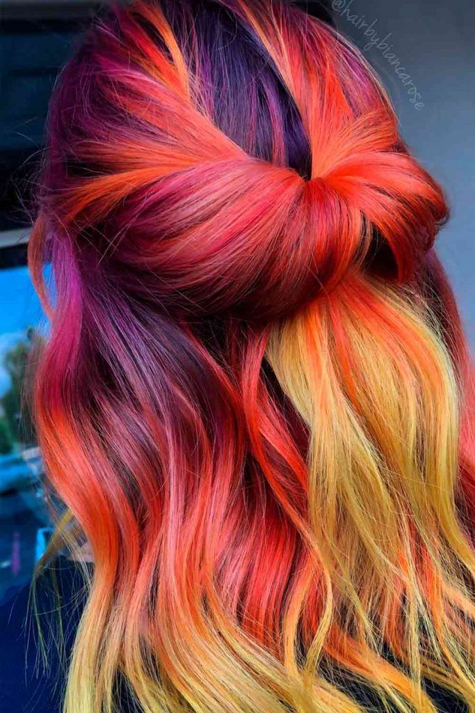 Sweetheart Red, red to blonde ombre, red and blonde ombre, red and blonde ombre hair, red blonde ombre hair