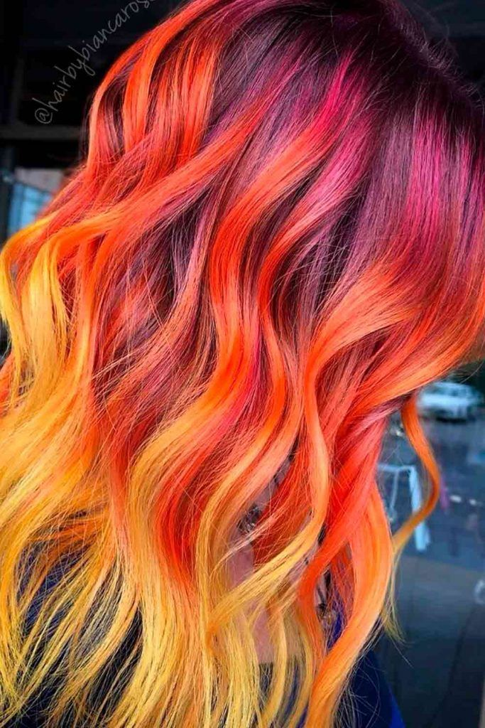 Peach Red, red ombre long hair, red ombre color, bright red ombre, red hombre