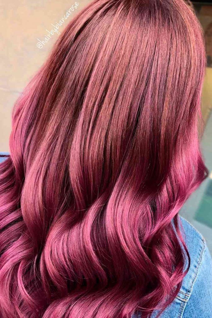 Natural to Mahogany, red purple ombre hair, red violet ombre, red hair with ombre