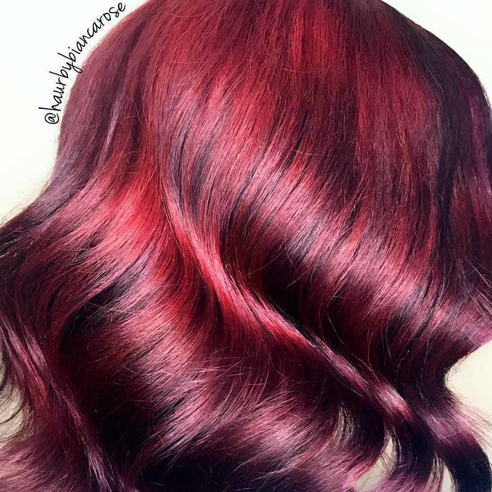 Red-Wine Ombre, red black ombre hair, red hair ombre, brunette to red ombre, red balayage ombre