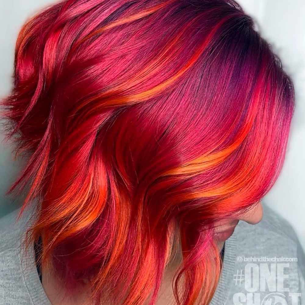 Red Violet, red purple ombre hair, ombre red hair, red hair with ombre