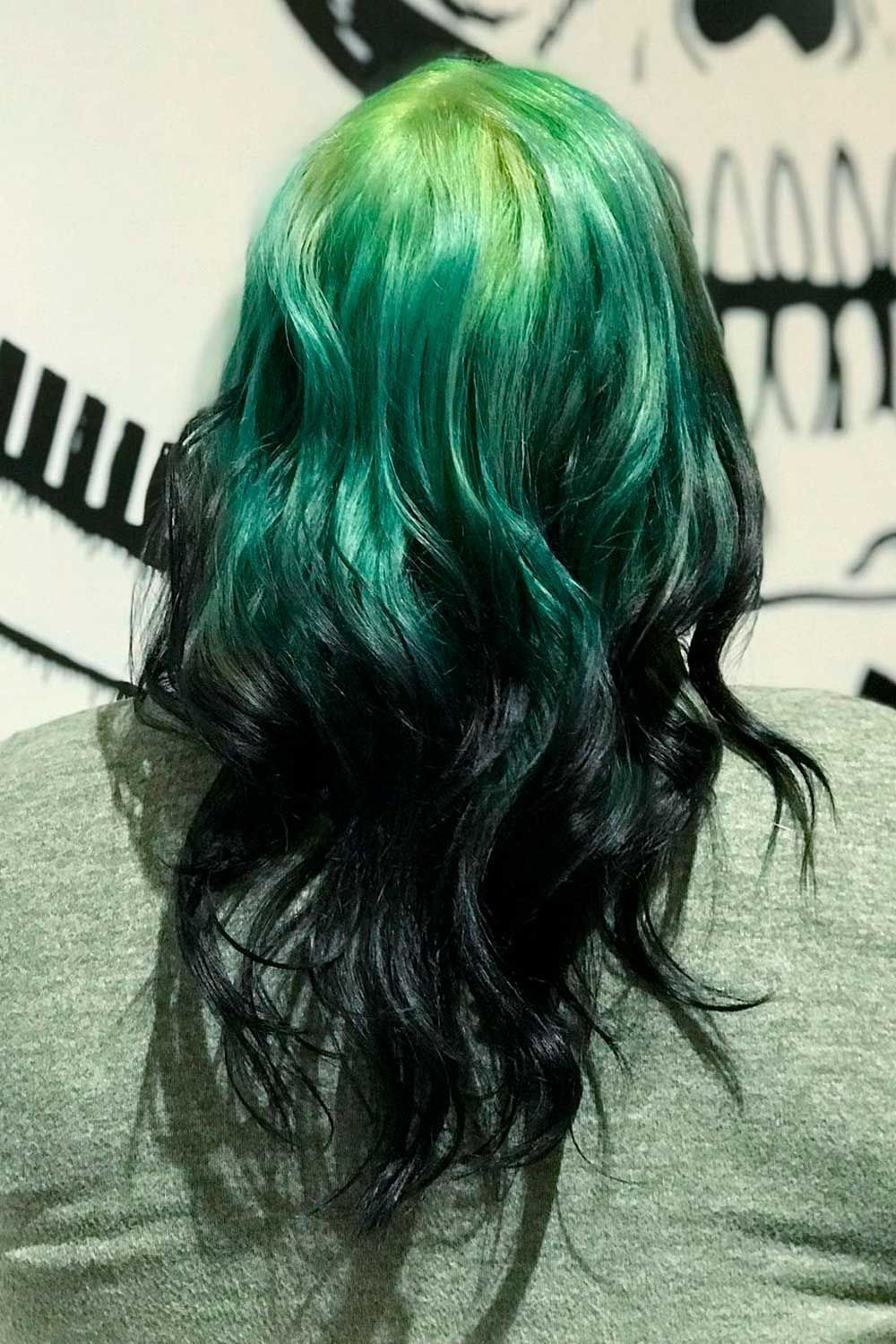 Extra Bright Ideas With Black And Colorful Ombre Reverse Hair, green ombre hair, ombre reverse