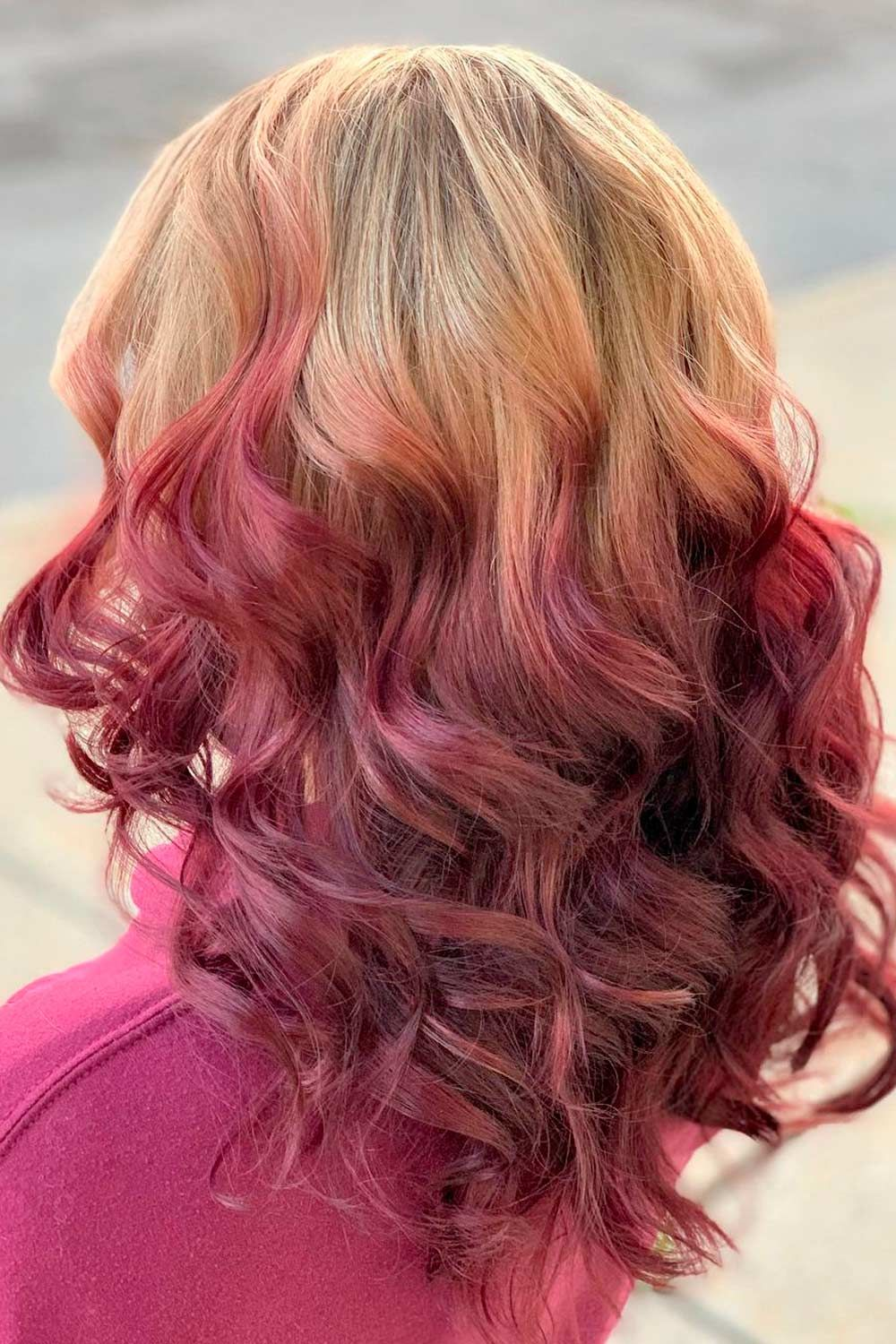 Reverse Red Ombre Hair With Blonde Top, Pink ombre hair, reverse ombre hair color